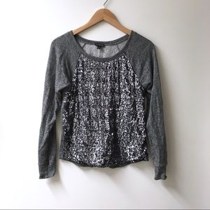 Express xs gray sequin panel sweatshirt